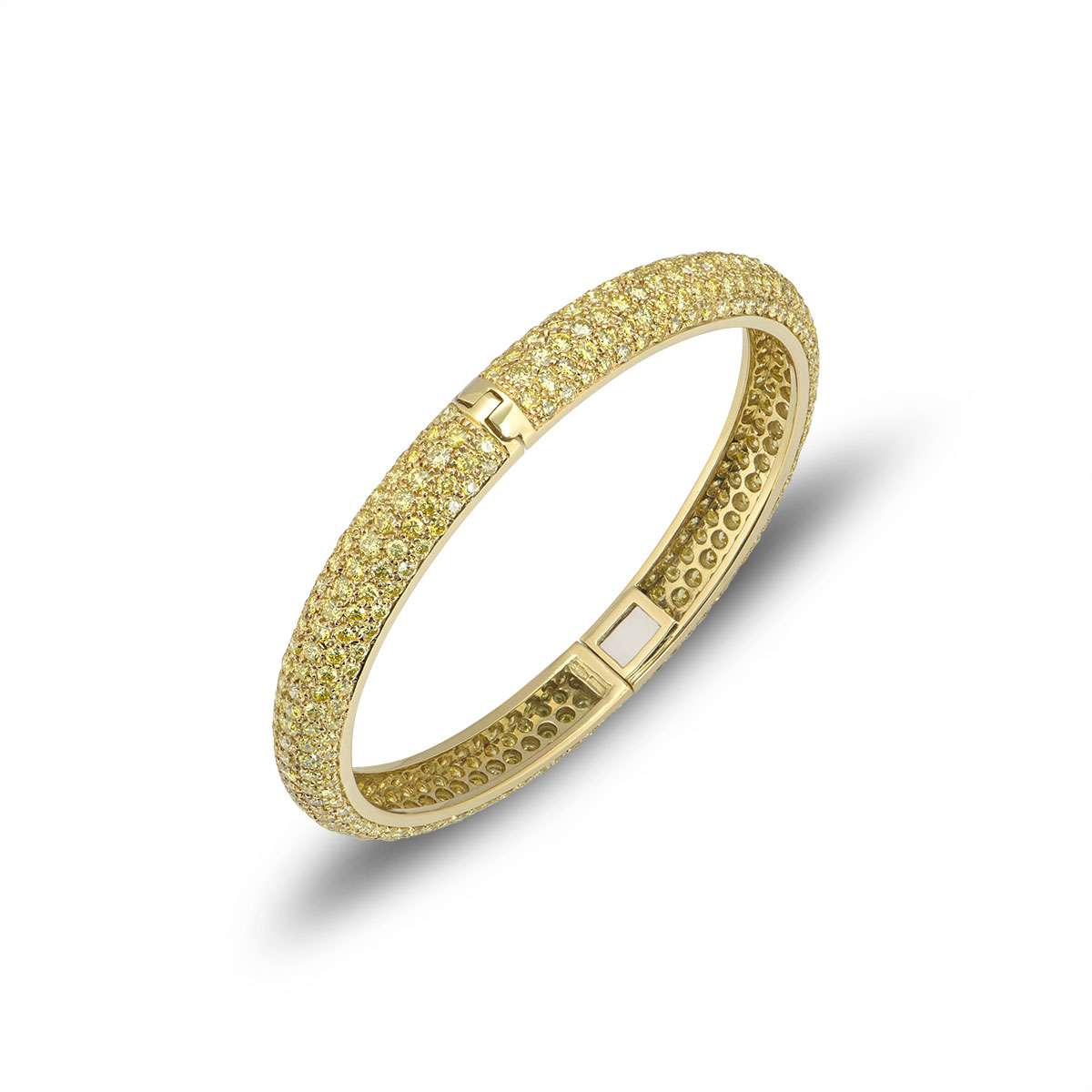 Yellow Diamond Set Yellow Gold Hinged Bangle